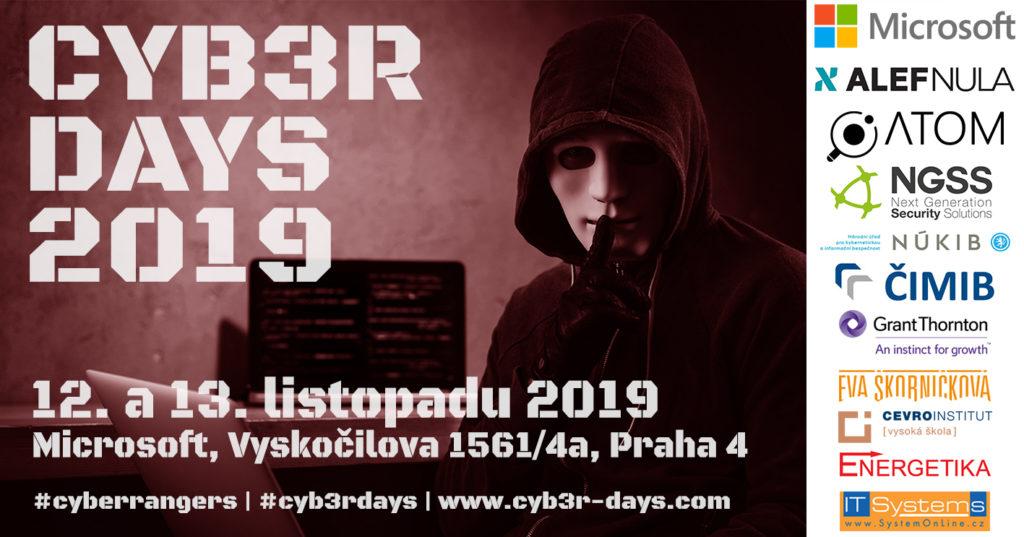 Pozvánka na konferenci Cyb3r Days 2019.